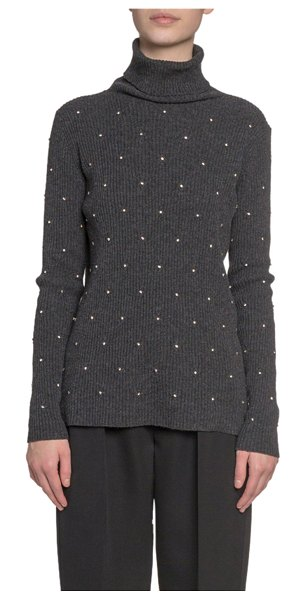 Marc Jacobs Runway Embroidered Wool-Cashmere Turtleneck Sweater in gray