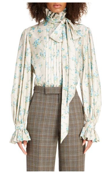 Marc Jacobs floral tie neck silk blouse in cream multi