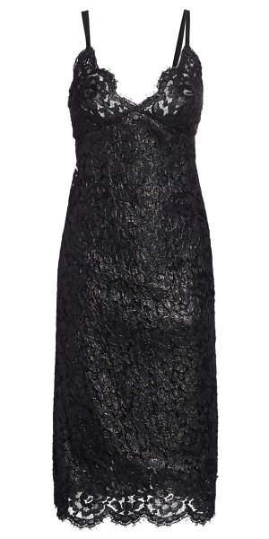 Runway Marc Jacobs lacquered lace slip dress in black
