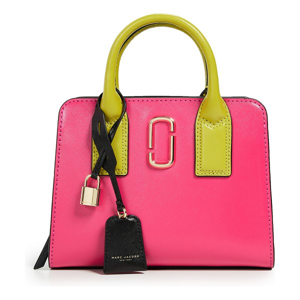 Marc Jacobs little big shot satchel in peony multi - Leather: Cowhide Colorblock Exposed zip at top Patch...