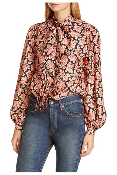 Marc Jacobs paisley print silk blouse with removable tie in pink