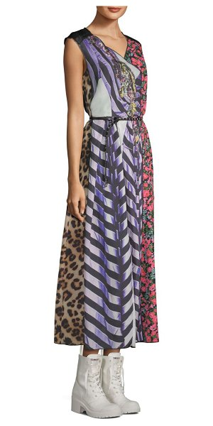 MARC JACOBS photographic stripe midi dress in purple multi - This scarf dress features a photo print that's spliced...