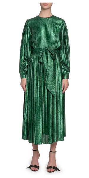 Marc Jacobs Pleated Lame Self-Tie Midi Dress in green