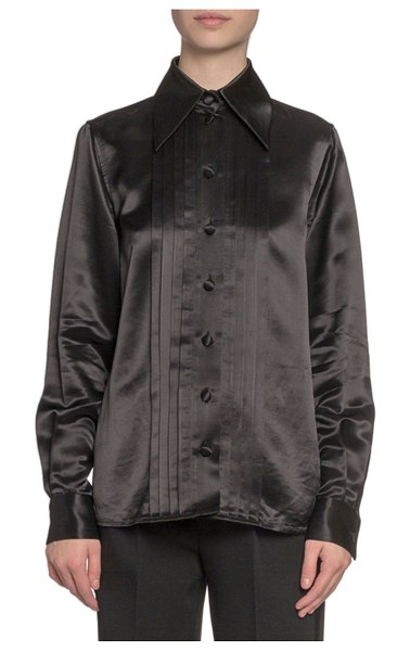 Marc Jacobs Runway Pleated Satin Button-Front Blouse in black