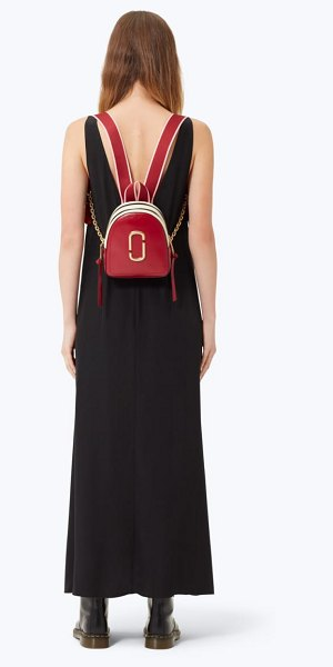 Marc Jacobs snapshot mini leather backpack in red - A polished stacked-J logo emblem and bold color blocking...