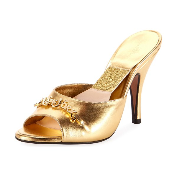 Marc Jacobs The Mule Metallic Slide Mules in gold