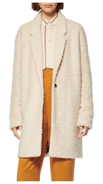 MARC NEW YORK curly boucle coat in ivory