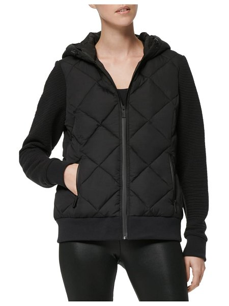 MARC NEW YORK hooded jacket with knit sleeves in black