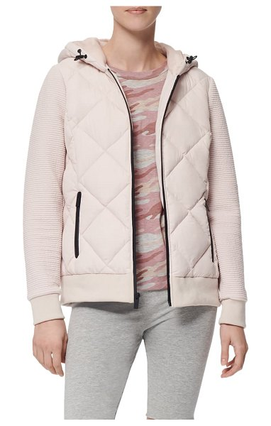 MARC NEW YORK hooded jacket with knit sleeves in magnolia