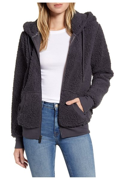 MARC NEW YORK teddy fleece zip jacket in charcoal
