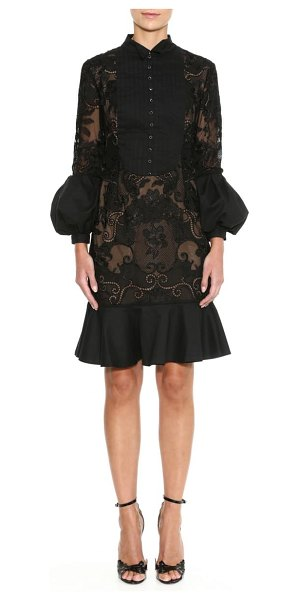 Marchesa briar rose lace detail cocktail dress in black