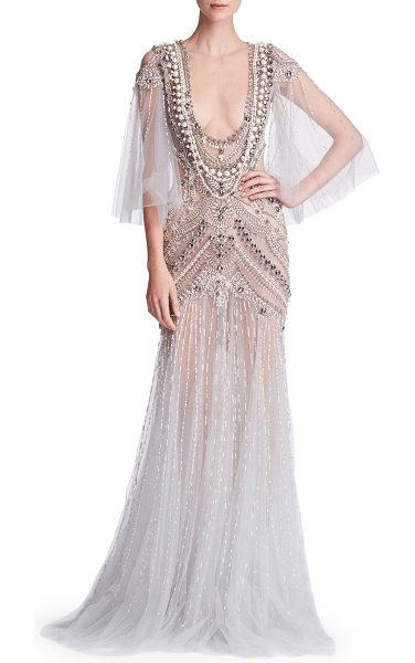 Marchesa Cape-Sleeve Embellished Tulle Evening Gown With Necklace ...