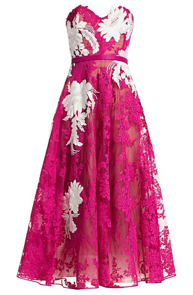 Marchesa corded lace strapless cocktail dress in fuchsia
