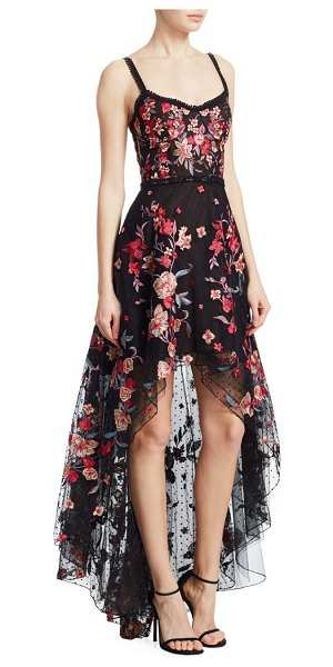 Marchesa Embroidered High-Low Sleeveless A-Line Dress in black