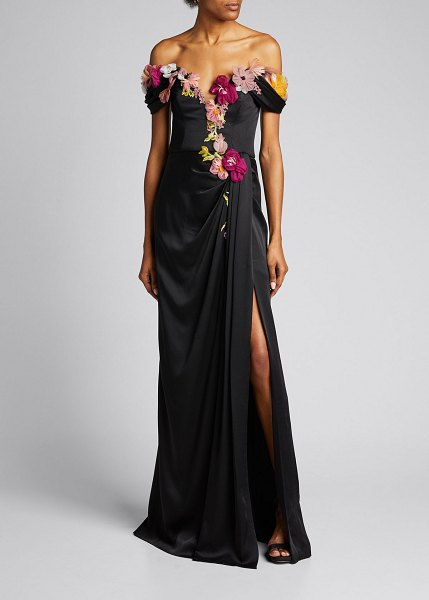 Marchesa Floral Embroidered Organza Off-the-Shoulder Gown in black