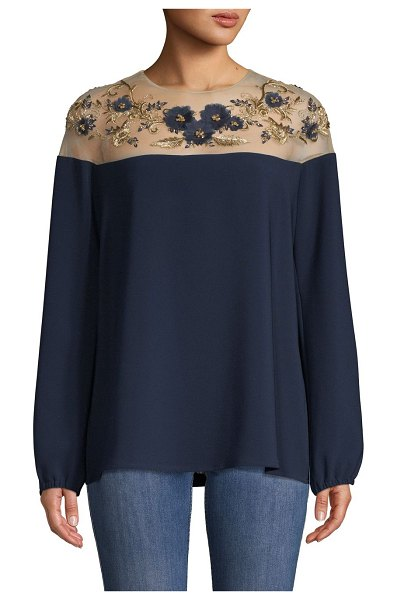 Marchesa Floral Embroidered Top in navy