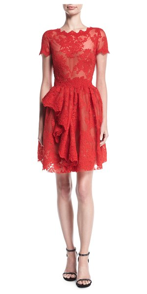 MARCHESA Floral Lace Cap-Sleeve Dress - EXCLUSIVELY AT NEIMAN MARCUS Marchesa cocktail dress in...