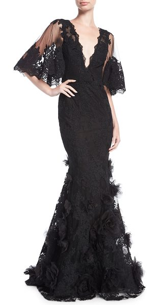 MARCHESA Floral Lace Flutter-Sleeve Gown - EXCLUSIVELY AT NEIMAN MARCUS Marchesa gown in corded lace...