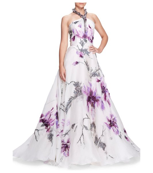 Marchesa jeweled halterneck floral ball gown in iris