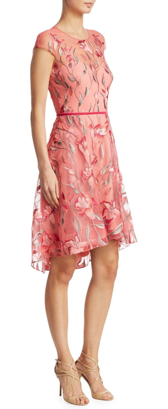 Notte by Marchesa embroidered fit-and-flare dress in coral - Eye-catching floral embroidered dress in a fit-&-flare...