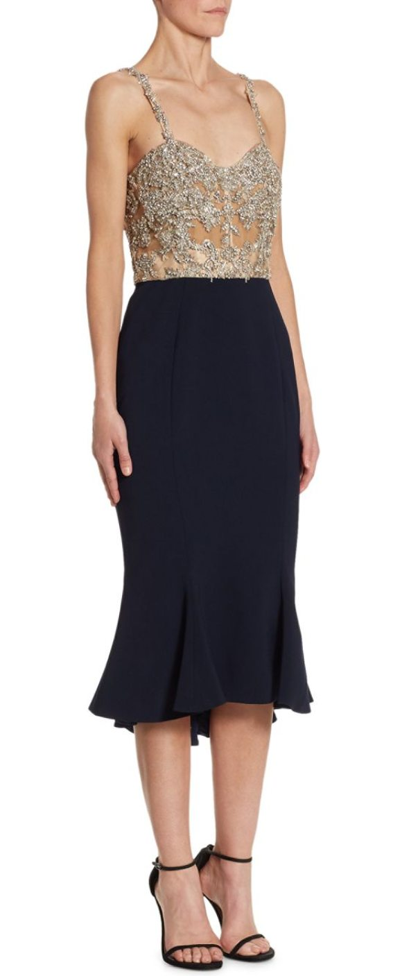 Marchesa embellished silk cocktail dress in navy grey - Chic silk cocktail dress is sure to enliven any party or...