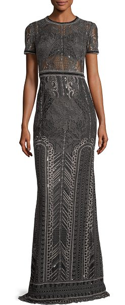 534cbd85 Notte by Marchesa Embroidered Lace Cap-Sleeve Column Evening Gown in ...
