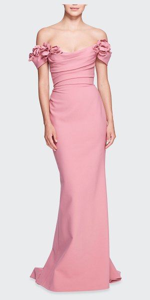 Marchesa Off-the-Shoulder Column Gown w/ Floral Applique in dusty pink