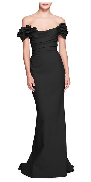 Marchesa rouched floral off-the-shoulder gown in black