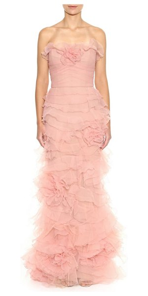 Marchesa strapless floral ruffle gown in blush