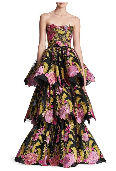 Marchesa strapless tiered floral gown in black multi - Playful and feminine, this dramatic tiered gown is...