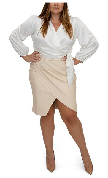 Maree Pour Toi bishop sleeve wrap blouse in ivory