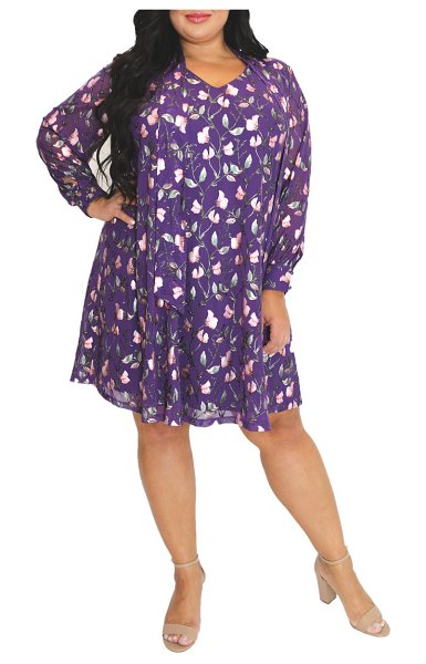 Maree Pour Toi floral long sleeve trapeze dress in purple