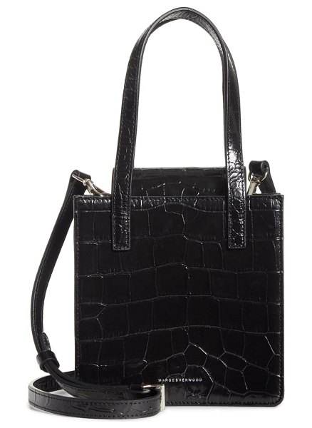 Marge Sherwood square croc embossed leather bag in black croc