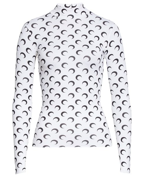 MARINE SERRE fitted moon print mock neck top in white with black print