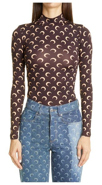 MARINE SERRE fitted moon print mock neck top in brown with tan print