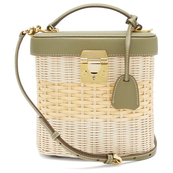 Mark Cross benchley leather and rattan bag in green multi