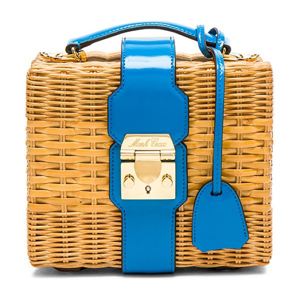 "Mark Cross for FWRD Harley Rattan Bag in blue,neutrals - ""Woven rattan with signature red twill lining and..."