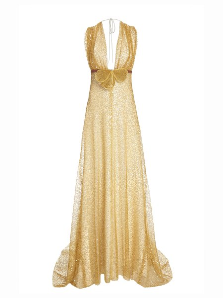 Markarian shirred sequin gown in gold