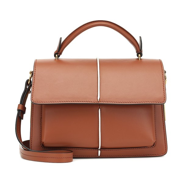 Marni attache' leather shoulder bag in brown