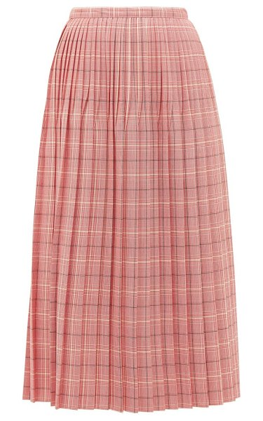 Marni checked pleated wool skirt in pink multi