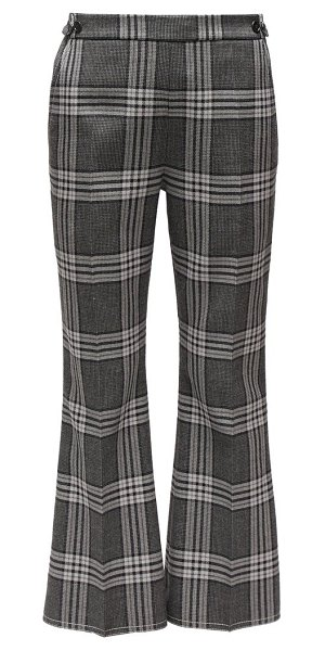 Marni cropped checked wool flared trousers in grey multi