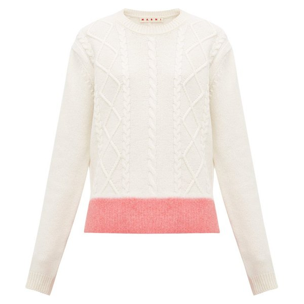 Marni contrast hem cable knit wool sweater in white multi