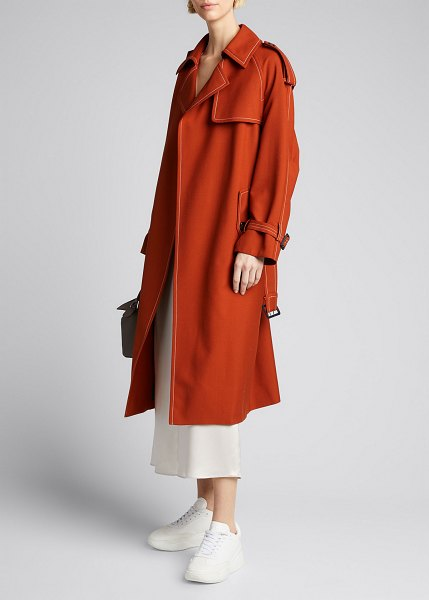 Marni Contrast-Stitched Wool Trench Coat in brick