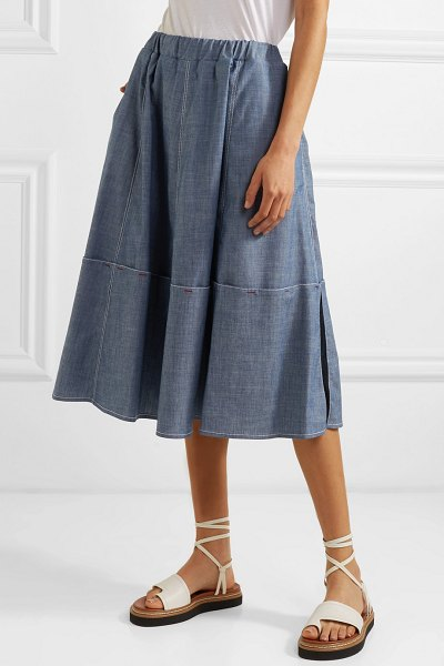Marni cotton-blend chambray skirt in gray
