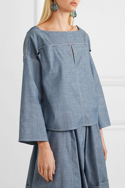 Marni cotton-blend chambray top in gray