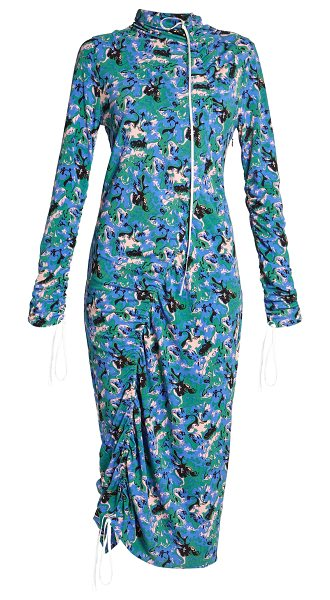 Marni Abstract-print crepe-jersey midi dress in blue multi - This cobalt-blue floral-print midi dress is part of...