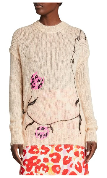 Marni Embroidered Floral Merino Wool-Blend Knit Sweater in rose