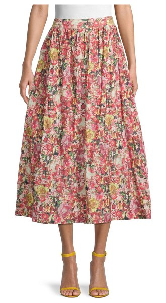 Marni Floral-Print A-Line Skirt in multi