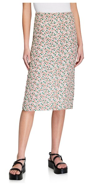 Marni Floral Print A-Line Skirt in ivory