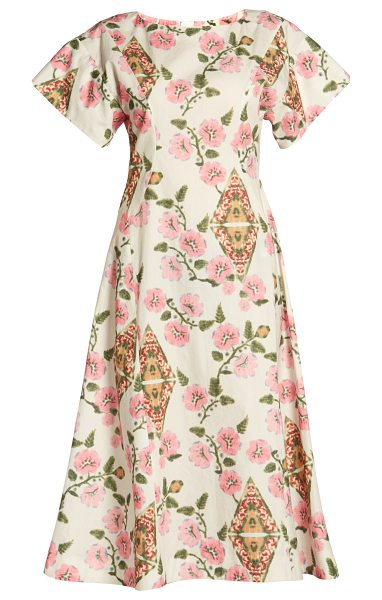 Marni Floral-print midi dress in pink white - The pink green red and yellow floral pattern on this...